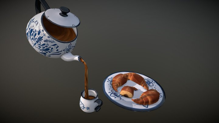Croissants and Talavera 3D Model