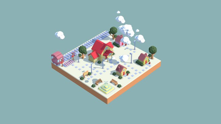 Morning Town 3D Model