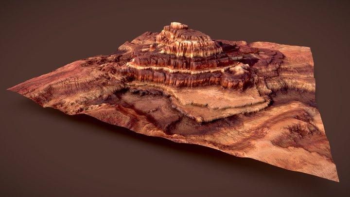 Rocky Terrace Mountain 3D Model