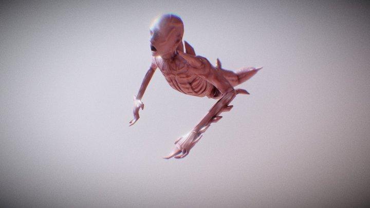 Crawling mutated human 3D Model