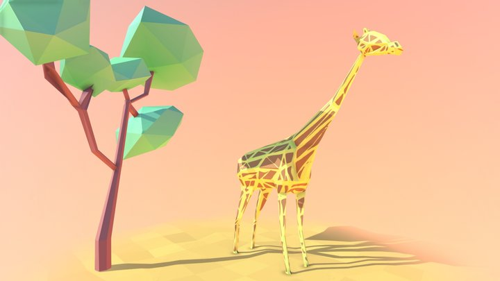 Low Poly Giraffe 3D Model