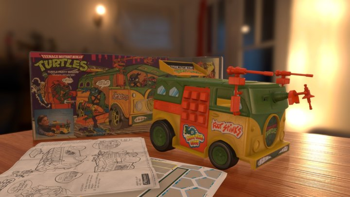 1988 TMNT Party Wagon Toy 3D Model