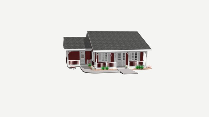923 sq ft - 86 sq m house 3D Model