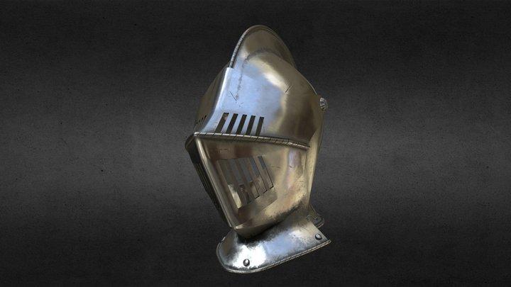 Medieval Knight Armet Helmet with visor 3D Model