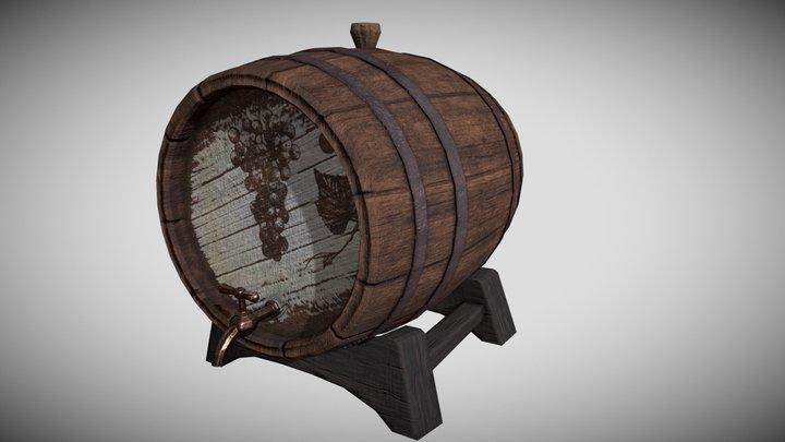 Wine Barrel 3D Model