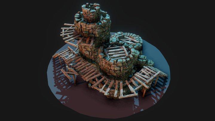 Modular Stone Wall Kit 3D Model