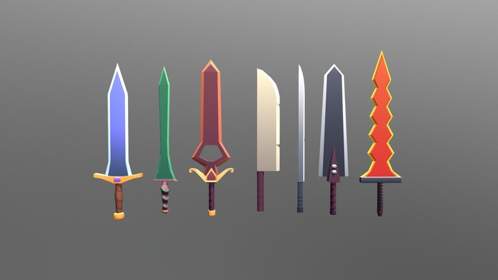 Low Poly Swords 3D Model