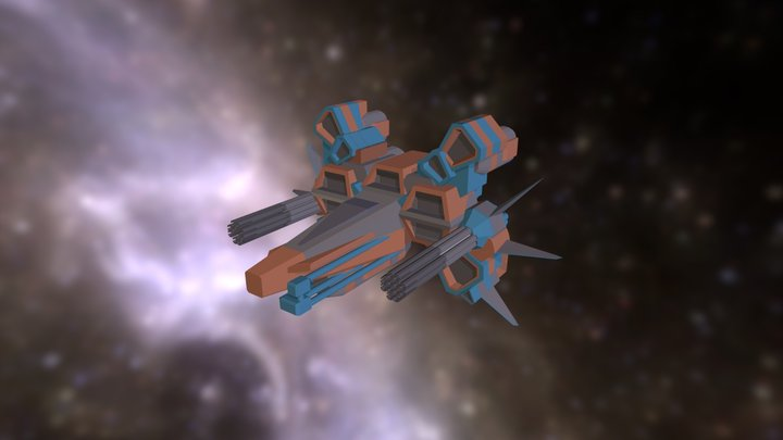 Strike Vector-style Low Poly Ship 3D Model