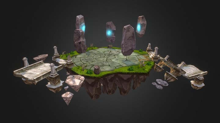 Island With Fly Stones from Siege of Heroes 3D Model