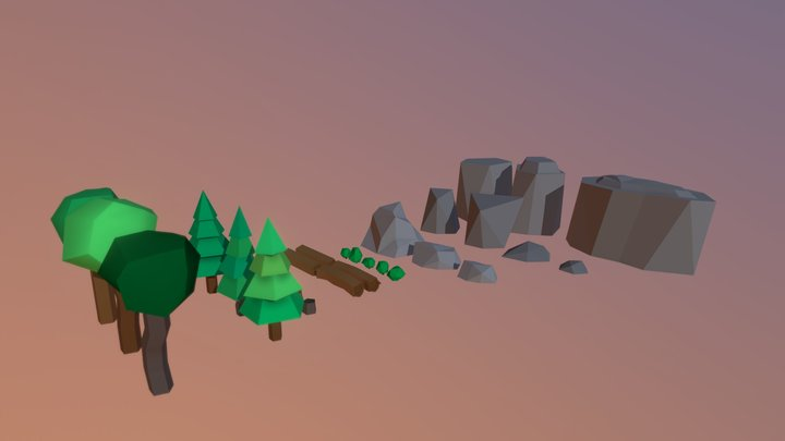 LowPoly Nature 1 (Made with Maya studentlicense) 3D Model
