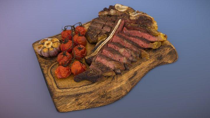 T-bone steak, medium-rare 3D Model