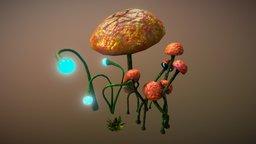 Sci-Fi Mushroom & Leafs Plant (Free-L.Poly) 3D Model
