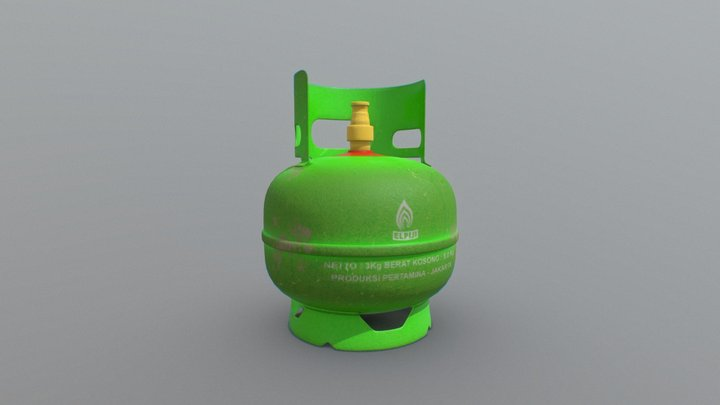 Indonesian LPG Cooking Gas Cylinders 3 Kg 3D Model