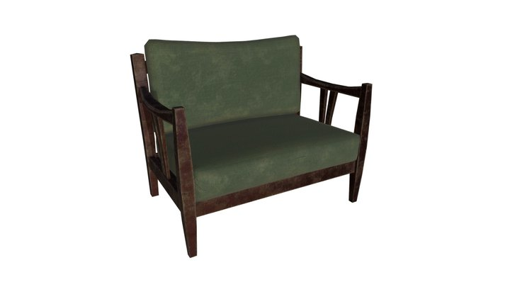 Sofa old (Low Poly, Game Ready) 3D Model