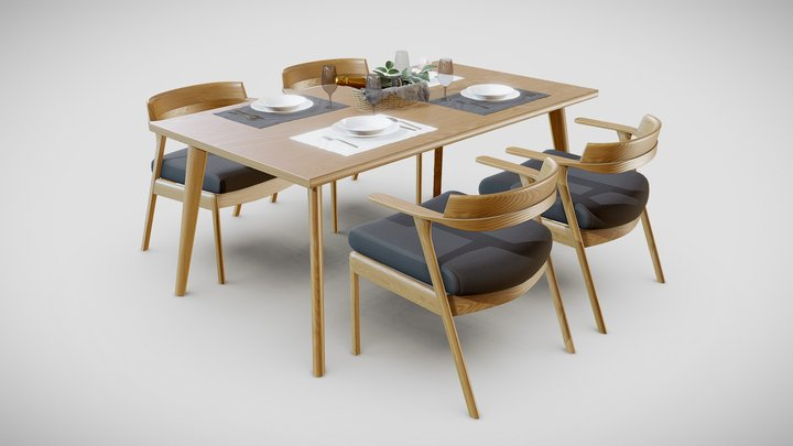Dining Table and Chair Set 3D Model