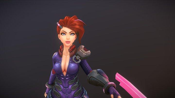 Stylized Female Fighter 3D Model