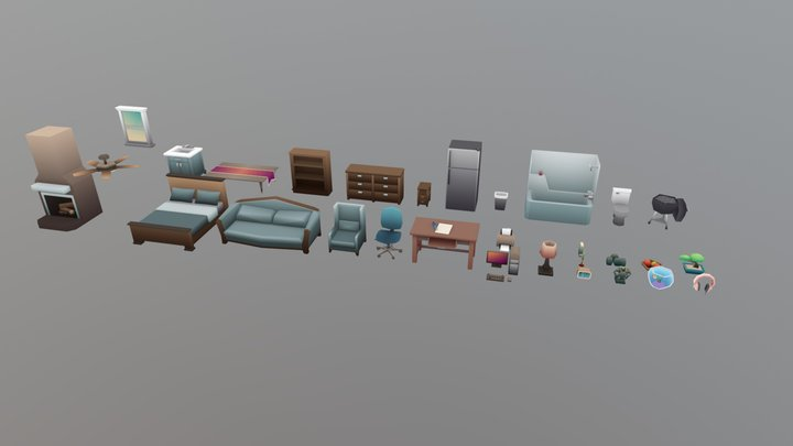 Household Props Collection 3D Model
