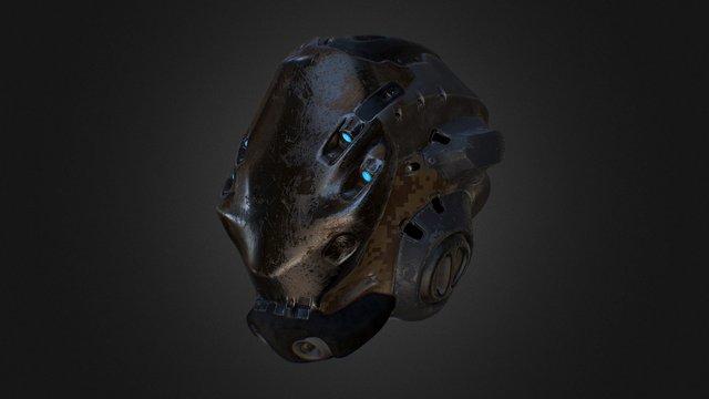 Cyberpunk Helmet Sketch 3D Model