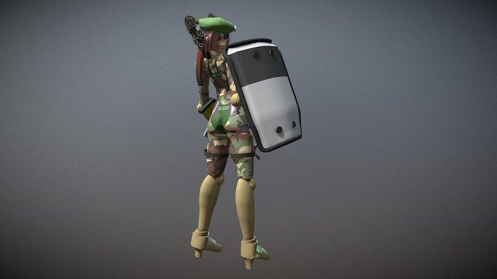 浦風(ライアットシールド装備) 3D Model