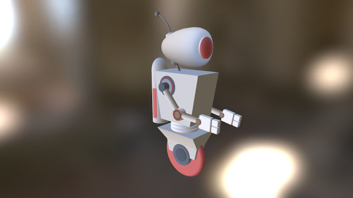 White and red little robot 3D Model