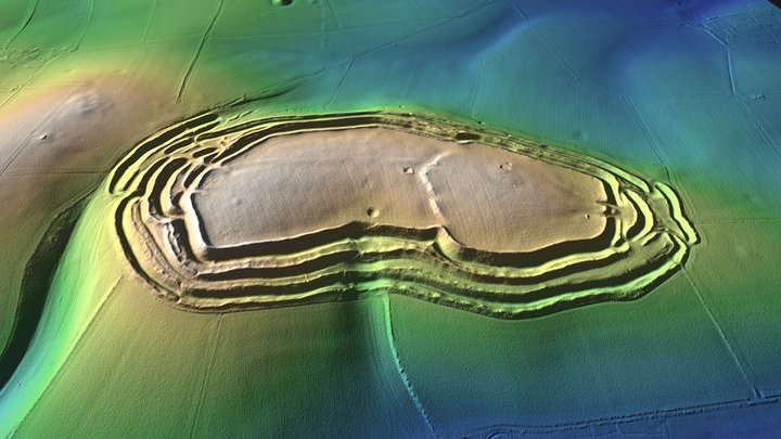 Maiden Castle Iron Age Hillfort LiDAR Model 3D Model