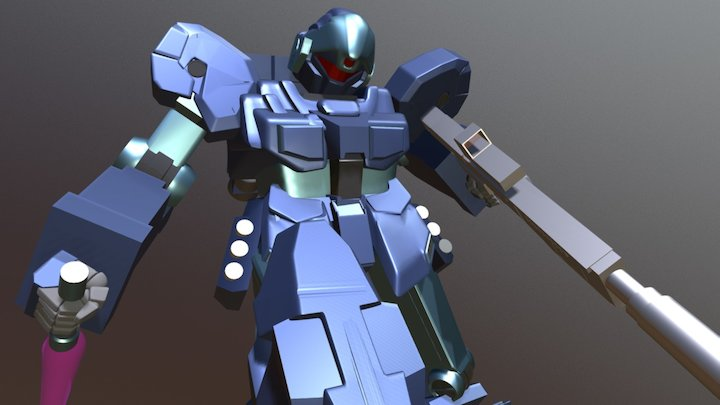 Jesta RGM-96X with destroyed Zaku 2 3D Model