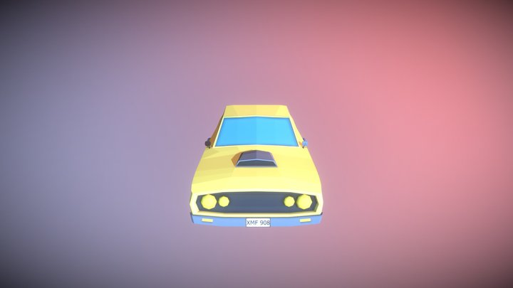 Low Poly Yellow Muscle Car 3D Model