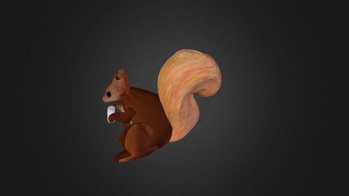 Squirrel holding a nut 3D Model