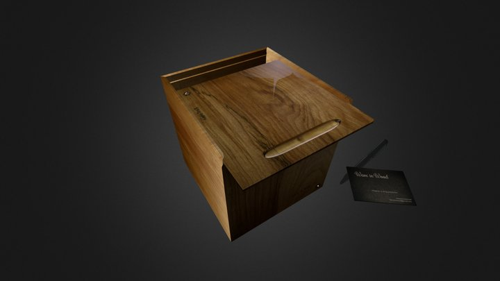 Boxed Apple-Tre3 in wooden box 3D Model