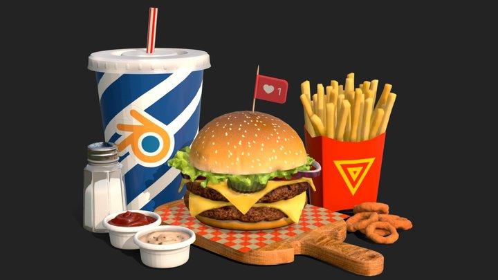 Burger Combo B28 3D Model