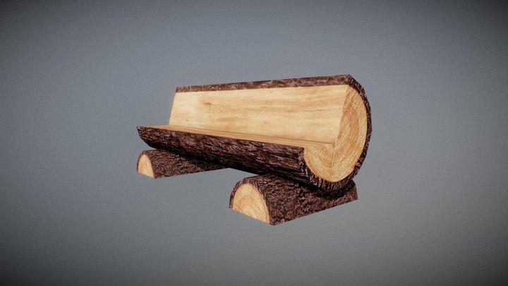 Tree Trunk Bench 3D Model