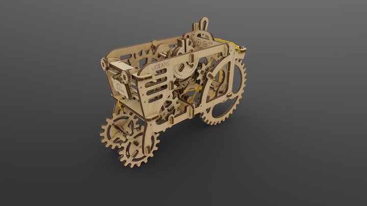 Plywood tractor 3D Model
