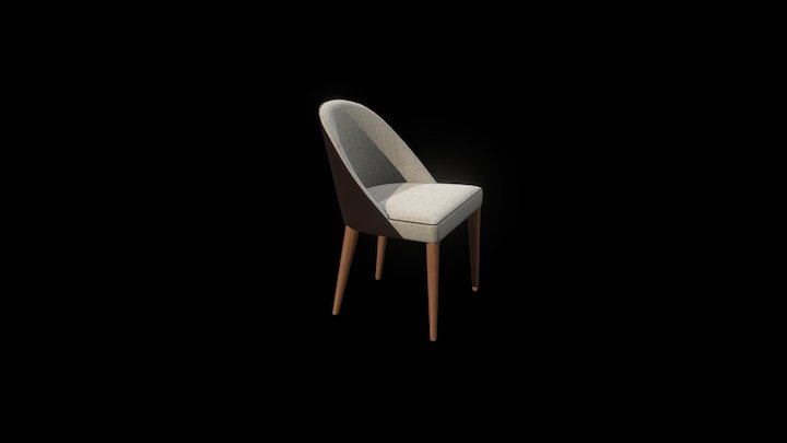 Judy Fabric / Leather Chair without Armrests 3D Model