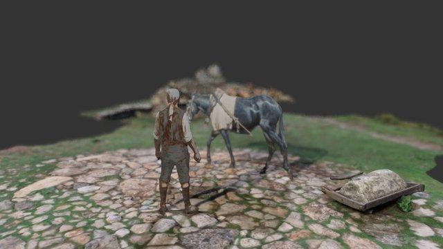 Proceso etnográfico de producción de cal y yeso. 3D Model