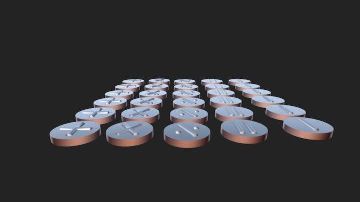 Math tokens. 3D Model