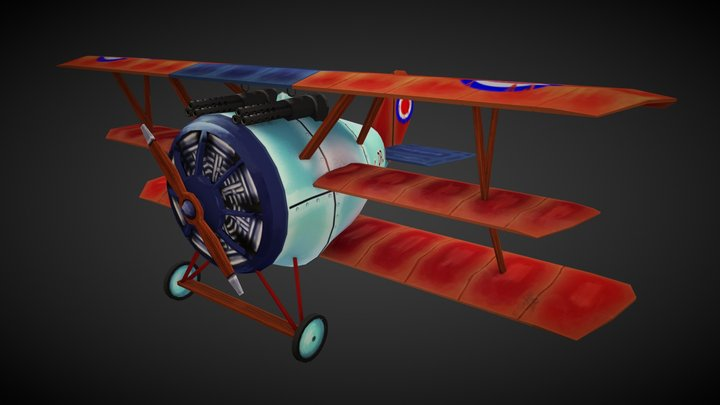 Pfalz Dr.I Stylized Airplane 3D Model