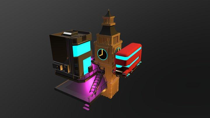 London Big Ben sci-fi Diorama 3D Model