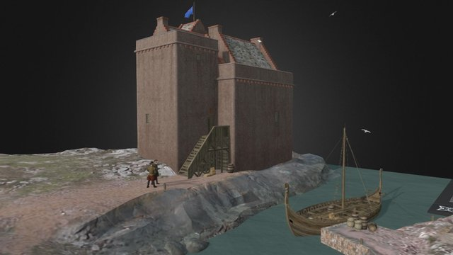 Portencross Castle 3D Model