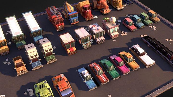Stylized Urban Vehicles Set 3D Model