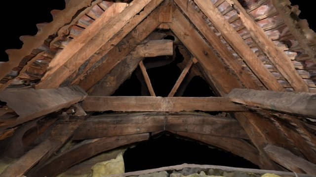 Dunster Old Priory Roof Beams 3D Model