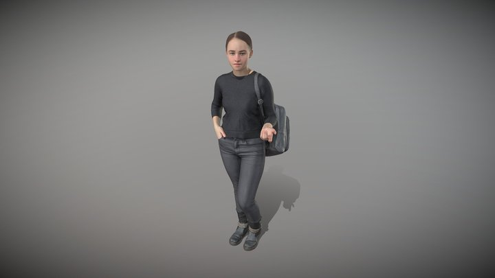 Woman dressed in black with a backpack 100 3D Model