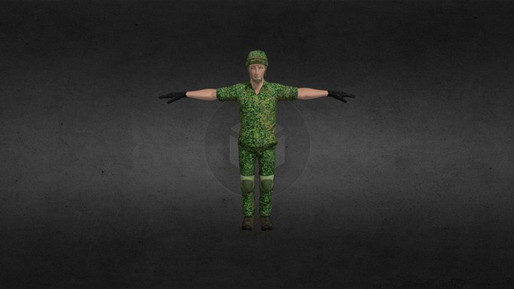 russian ratnik rolled up 3D Model