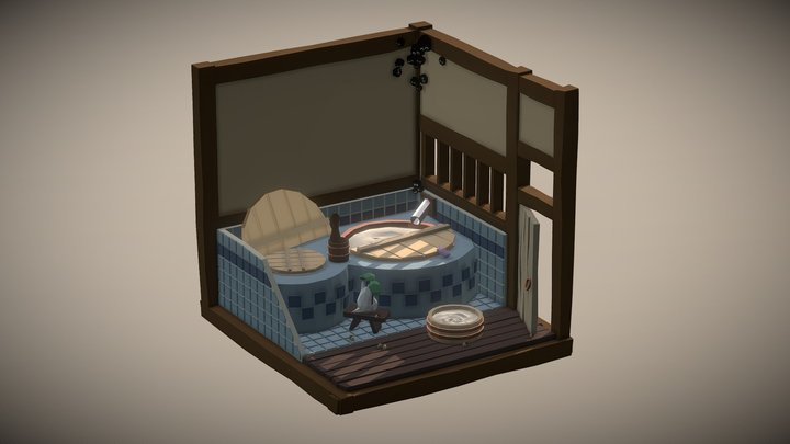 Isometric Bathroom - Totoro's Bathtub 3D Model