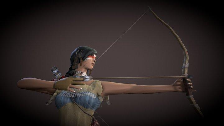 American Indian Female Archer 3D Model