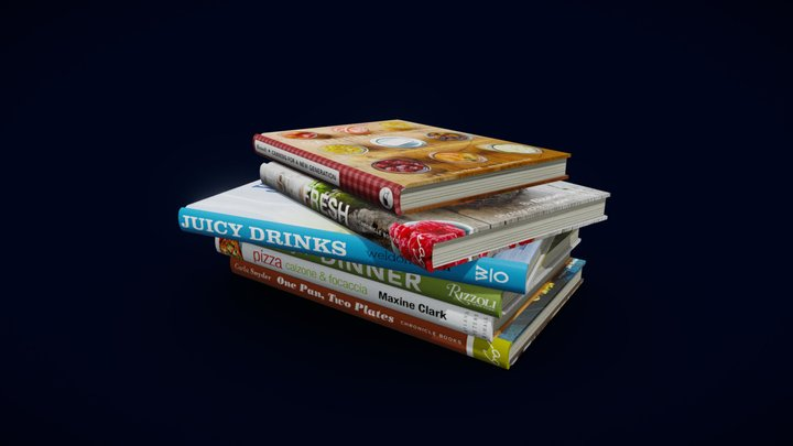Cookbooks low polygonal - collection N1 3D Model