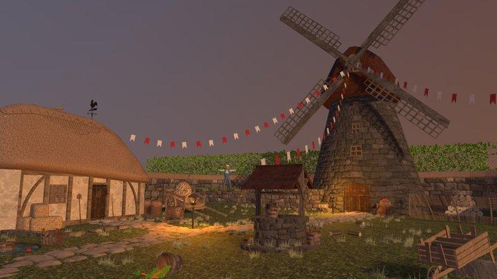 Medieval Farm Village 3D Model