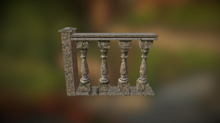 Rounded Stone Bannister 3D Model