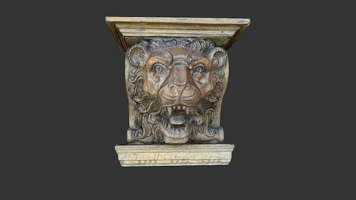 Wooden head from above a fireplace (2) 3D Model