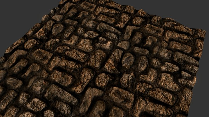 Hand sculpted Brick Path Texture 3D Model