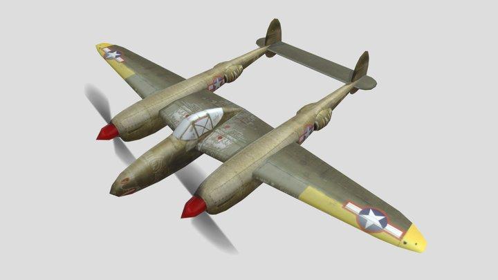 Lockheed P-38 Lightning Warplane Low Poly Asset 3D Model